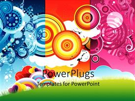 PowerPoint template displaying beautiful theme with cool shapes and multi colors