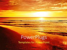 PowerPlugs: PowerPoint template with beautiful tropical beach with sunset over water surface and cloudy sky