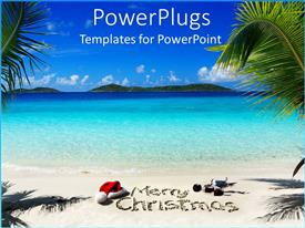 PowerPoint template displaying beautiful view of a beach with a merry Christmas text
