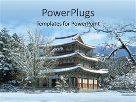 PowerPoint template displaying beautiful view of Chinese house n natural snow fall