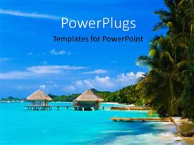 PowerPlugs: PowerPoint template with beautiful view of hut on beach with palms and blue cloudy sky