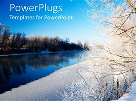 PowerPlugs: PowerPoint template with beautiful view of a lake with dried out tress