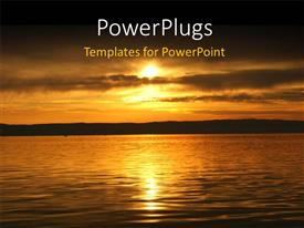 PowerPlugs: PowerPoint template with beautiful view of sunset over sea surface in autumn