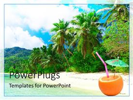 PowerPlugs: PowerPoint template with beautiful view of tropical beach with palms and parasol in orange