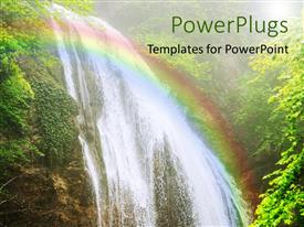 PowerPlugs: PowerPoint template with beautiful view of waterfall from Crimea mountain stream