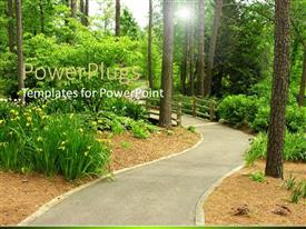 PowerPlugs: PowerPoint template with beautiful walkway with bridge in the middle of green forest