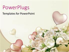 PowerPlugs: PowerPoint template with beautiful wedding background with heart shape balloons and white roses
