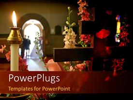 PowerPlugs: PowerPoint template with beautiful wedding concept with crucifix and lighted candle