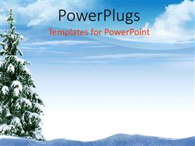 PowerPlugs: PowerPoint template with a Christmas tree in the middle thick of snow