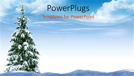 PowerPoint template displaying a Christmas tree in the middle thick of snow
