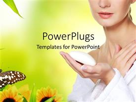 PowerPlugs: PowerPoint template with a beautiful girl with a number of flowers