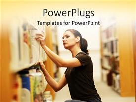 PowerPoint template displaying a beautiful woman with library in the background