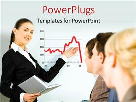 PowerPlugs: PowerPoint template with beautiful woman making financial presentation to group of people