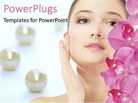 PowerPlugs: PowerPoint template with beautiful woman and pink flowers with pearls