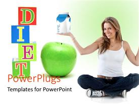 PowerPlugs: PowerPoint template with beautiful woman smiling with green apple and healthy diet