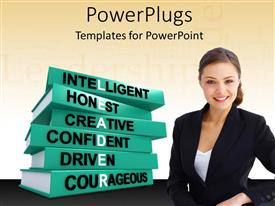 PowerPlugs: PowerPoint template with beautiful woman standing by pile of books with leadership qualities