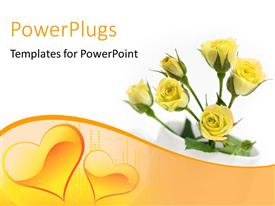 PPT layouts enhanced with beautiful yellow rose flower in white tea cup over white surface