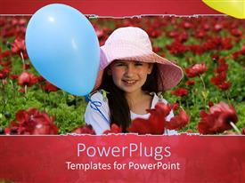 PowerPlugs: PowerPoint template with beautiful young girl in flower field with blue balloon and pink hat