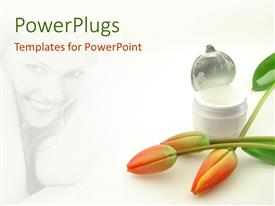 PowerPoint template displaying beautiful young lady in background with tulips and cream in bottle