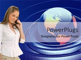 PowerPlugs: PowerPoint template with beautiful young lady communicating with her cell phone