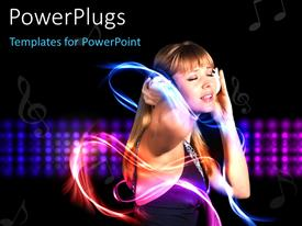 PowerPlugs: PowerPoint template with beautiful young lady listening to music with headphones on