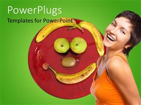 PowerPoint template displaying beautiful young lady smiling with fruits forming smiley face on plate