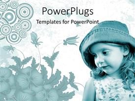PowerPlugs: PowerPoint template with beautiful young with straight face and hat on with abstract floral background
