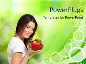 PowerPlugs: PowerPoint template with beautiful young woman over abstract green blurred background