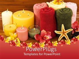 PowerPlugs: PowerPoint template with beautifully arranged spa essentials of towels, scented candles and flowers