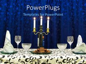 PowerPoint template displaying a beautifully set dinner table with cookies, wine, and candles