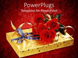 PowerPlugs: PowerPoint template with a beautifully wrapped gift box with a bunch of flowers