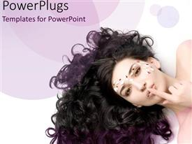 PowerPlugs: PowerPoint template with beauty queen with amazing curly hair on purple background