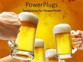 PowerPlugs: PowerPoint template with beer cheers toast yellow background