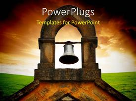 PowerPlugs: PowerPoint template with a bell in the Church with clouds in the background