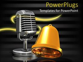 PowerPlugs: PowerPoint template with a bell and a mic with blackish background