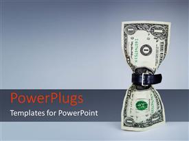 PowerPlugs: PowerPoint template with belt fastened around one dollar bill on grey background