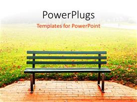 PowerPlugs: PowerPoint template with a bench in the park with blurred background