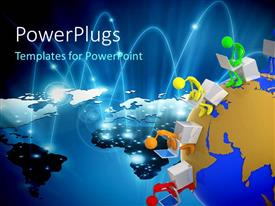PowerPlugs: PowerPoint template with internet depiction with linked 3D men operating laptop around earth globe