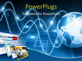 PowerPlugs: PowerPoint template with a large blue colored 3D lobe with wavy lined attached to it