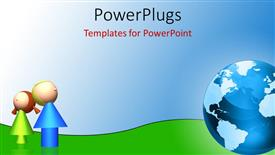 PowerPlugs: PowerPoint template with two green and blue 3D characters beside a shinning 3D globe