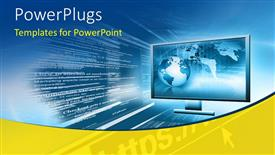 PowerPlugs: PowerPoint template with a large shinning 3D screen with a globe inside it