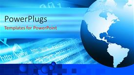 PowerPlugs: PowerPoint template with internet depiction with globe and internet address in blue background