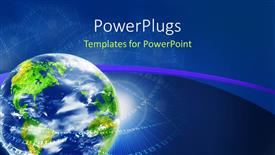 PowerPlugs: PowerPoint template with earth globe in blue background with binary numbers forming circles