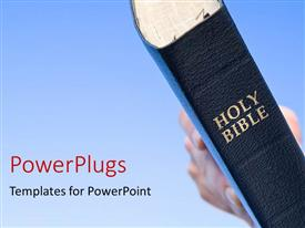 PowerPoint template displaying the bible with bluish background and place for text