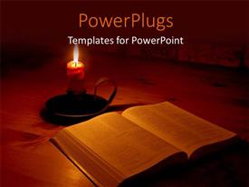 PowerPlugs: PowerPoint template with the bible and a candle with its light surrounding the bible