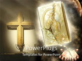 PowerPoint template displaying a bible with a cross in the background