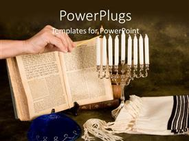PowerPlugs: PowerPoint template with a bible with a number of candles