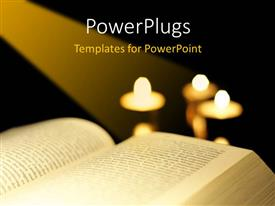 PowerPoint template displaying the bible with a number of candles