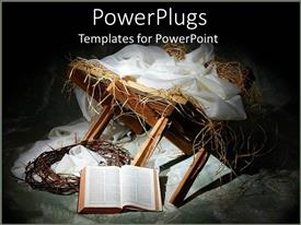 PowerPoint template displaying bible theme with items reminding of the birth of Jesus and crown of thorns on floor and opened Bible