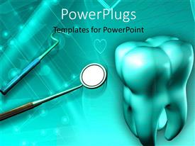 PowerPlugs: PowerPoint template with a big 3D tooth, with some dental equipments on  blue background